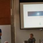 Micheal Bonke presenting the solar power plant  for Auroville