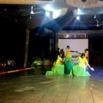 Women perform modern tamil dance form in traditional attires