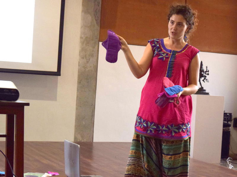 Photographer:Neha | Showing various Eco Femme sanitary pads and how to use them