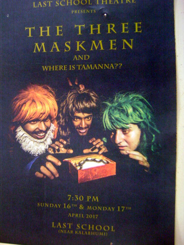 Photographer:Zinka   Three Maskmen - comedy at LLast School tonight at 7.30pm