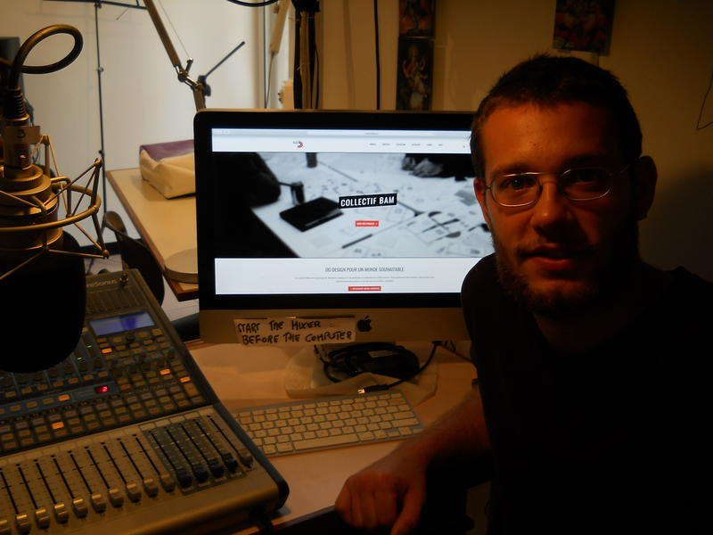 Photographer:Valentin Martino at Auroville Radio after the interview | Gino