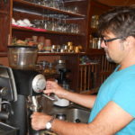 Pressing down the coffee