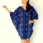 Claire wearing the BREEZE dress in gorgeous shade of indigo blue