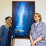 Devasmita and Jaya infront of donated art piece