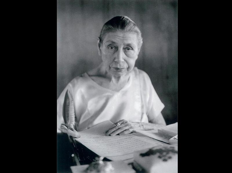 Photographer:Ashram Archives | Mother at her desk in 1961 - 1963