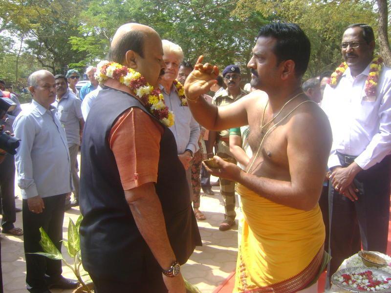 Photographer:Antonio | Dr. Sarat Kumar Acharya taking part in the pooja ceremony here on Saturday.