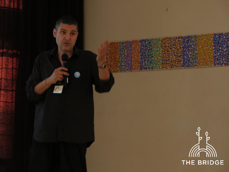 Photographer:Cassandra | Lionel Obadia presenting research on Auroville (Unity Pavilion)