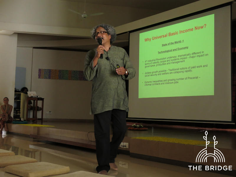 Photographer:Cassandra | Sarath Davala presenting research on Universal Basic Income at The Bridge (Unity Pavillion)