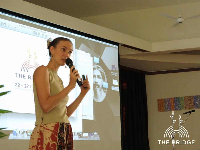 Photographer:Cassandra | Suryamayi addressing the audience of The Bridge (Unity Pavillion)