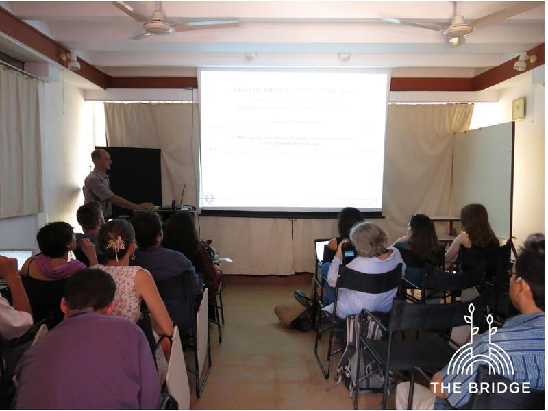 Photographer:Cassandra   Satprem Maini presenting the work of the Auroville Earth Institute