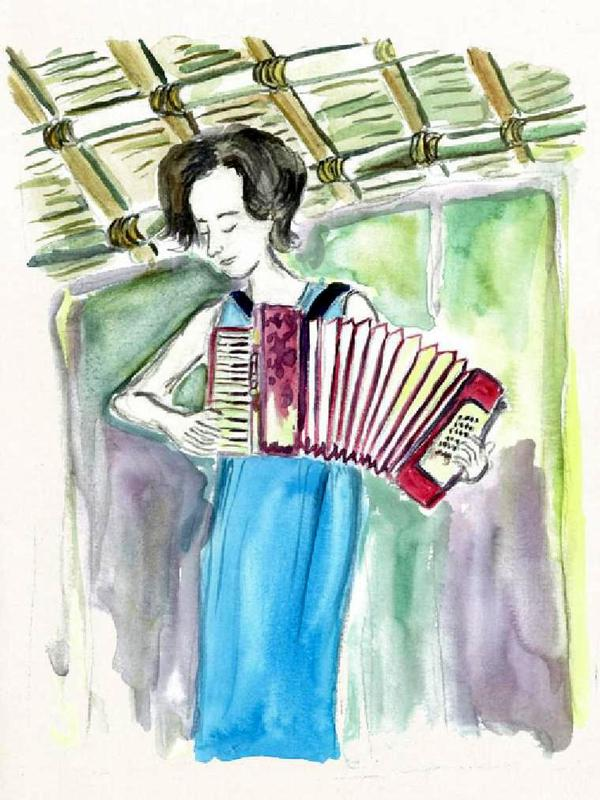 Photographer:http://sadhanaforest.org/from-my-little-hut-in-the-forest-by-yorit-rozin/ | Yorit playing accordion