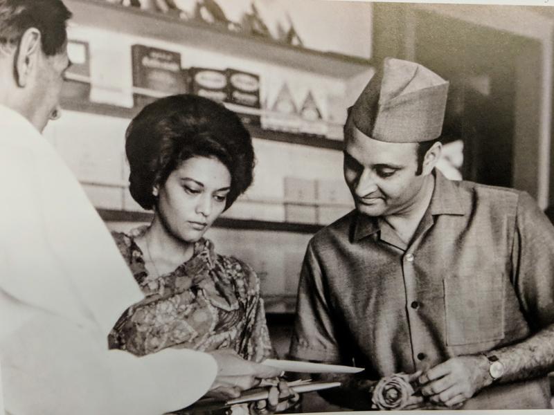 Photographer:Archive | Dr Karan Singh and his wife, Yasho Raja Laxmi, at the Ashram.