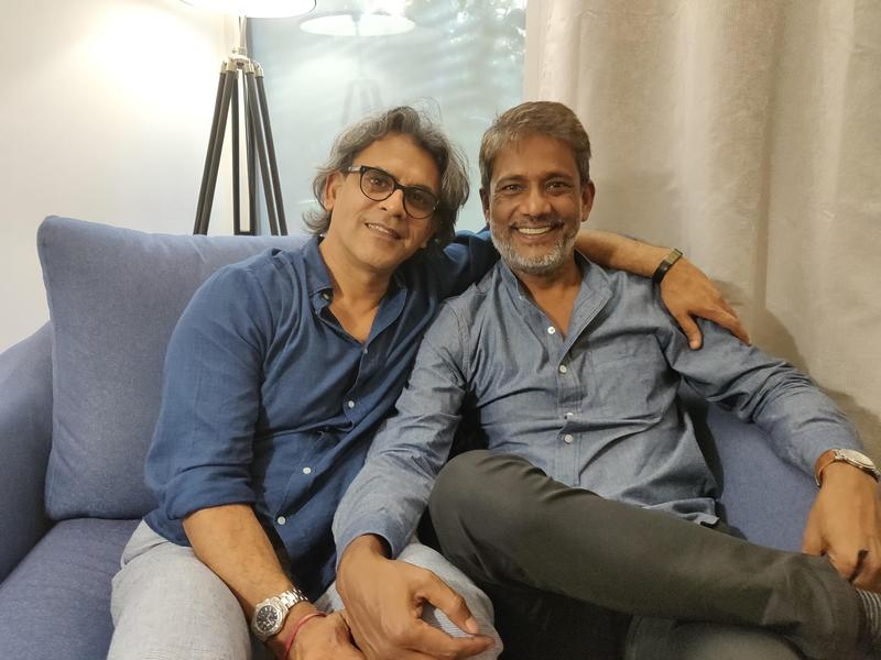 Photographer:Akshay | Sanjay Bhutiani (Left) and Adil Hussain (Right) after their interview with AurovilleRadio