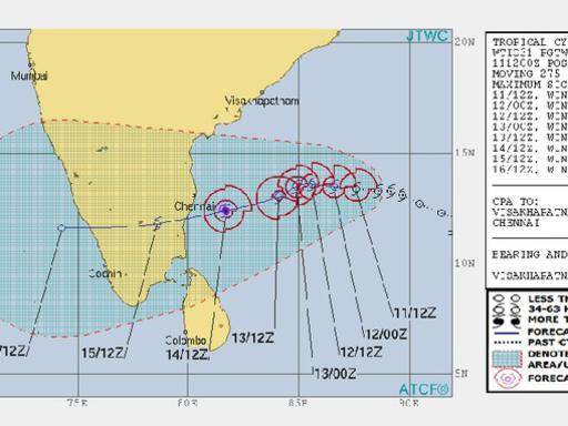 Photographer:web | forecast for cyclone Gaja