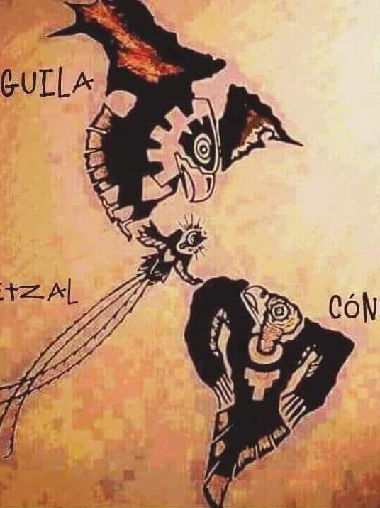 Photographer:web | Mapa de America con sus pajaros : aguila, condor y quetzal