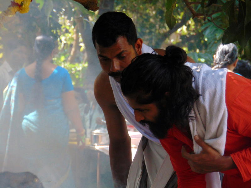 Photographer:Zoya | holly men in ritual of fire in pooja
