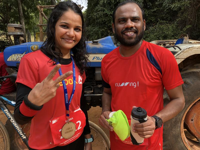 Photographer:Andrea | From left:  Garima and Edvin at their first Auroville's marathon